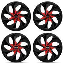 Kit Calota Esportiva Tuning Black Red Shutt Aro 14 Preta e Vermelha Ótimo Acabamento Universal -