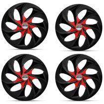 Kit Calota Esportiva Tuning Prime Shutt Aro 14 Preta e Vermelha Ótimo Acabamento Universal -