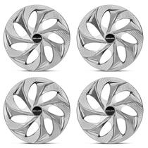 Kit Calota Esportiva Tuning Silver Chrome Shutt Aro 14 Prata e Cromado Ótimo Acabamento Universal -