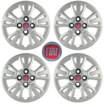 Kit Calotas Grid Aro 14 Fiat Uno Way 2011 12 C/ Emblema -