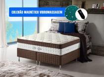 Kit Cama Box + Colchão Casal King Size Magnético Vibromassageador Infravermelho 193x203x67 Cm New Anjos - MEGASUL - Anjos Do Brasil
