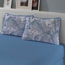 Kit Cama Casal 3 peças: Lençol com elástico e Fronhas de Malha Azul Porto - Edromania