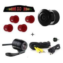 Kit Camera De Re + Sensor De Estacionamento Vermelho - Import agf