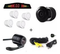 Kit Camera De Ré Visão Colorida + Sensor De Ré Branco - Import Ts