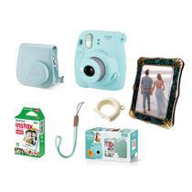Kit Câmera Fujifilm Instax Mini 9 Azul Acqua + Bolsa + Filme + Porta-Retrato -