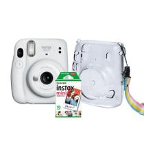 Kit Câmera Instantânea Fujifilm Instax Mini 11 Branca + Case Crystal + Filme 10 poses -