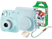 Kit Câmera Instantânea Fujifilm Instax Mini 9 - Azul Aqua Filmes 10 Poses Bolsa