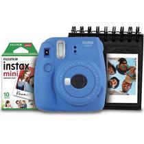 Kit câmera Instantânea Fujifilm Instax mini 9 AZUL COBALTO + porta fotos + filme com 10 fotos -