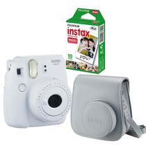 Kit câmera Instantânea Fujifilm Instax mini 9 BRANCO GELO + estojo + filme com 10 fotos -