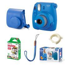 Kit Câmera instantânea Fujifilm Instax Mini 9 c/ Bolsa e Filme 10 poses - Azul Cobalto -