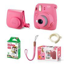 Kit Câmera instantânea Fujifilm Instax Mini 9 c/ Bolsa e Filme 10 poses - Rosa Flamingo -