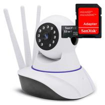 Kit Câmera Ip 1 MP 720p HD Wifi Audio P2p 3 Antenas Com Cartão de Memória 32gb - Outros