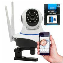 Kit Câmera IP sem Fio Babá Eletrônica 360 Wifi 2 antenas HD 720p  + Cartão de Memória KP-M032UL 32GB - Ípega
