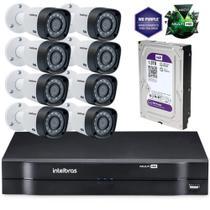Kit Câmeras De Segurança Intelbras Multihd Dvr 8c + 8 Câmeras 1010b G3 + Hd Western Purple 1tb -