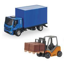 Kit Caminhão Iveco Tector Bau +Empilhadeira Pneu de Borracha - Usual Brinquedos