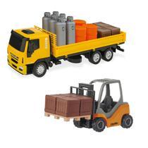 Kit Caminhão Iveco Tector Expresso + Empilhadeira com Palet - Usual Brinquedos