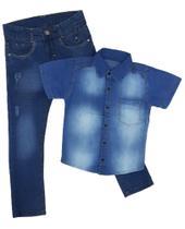kit camisa jeans + calça jeans com lycra Tam 6 - Jr Kids