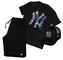 Kit Camiseta + Boné + Bermuda Moletom New York Yankess Ny - Bugado