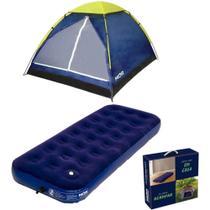Kit camping 01 barraca iglu 2 pessoas + colchão inflável solteiro com inflador mor -