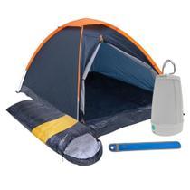 Kit Camping Barraca Panda 2 Pessoas + Saco de Dormir + Lampião Lanterna + Sinalizador - Nautika