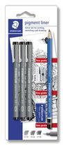 Kit caneta pigment liner c/lapis borracha e apontador staedtler -