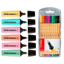 Kit Caneta Point 88 E Marca Texto Stabilo Boss Pastel -
