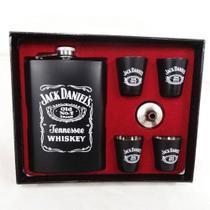 Kit Cantil de Whisky Jack Daniels c/ 4 Copos Shot e Funil - Cantil Inox Preto - 270ml - Moon Grass - impk