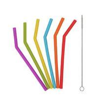 Kit canudo silicone flexível pequeno - 6 unidades - Import