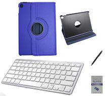 "Kit Capa 360/Can/Pel/Teclado Branco iPad Air 3 2019 - 10.5"" Azul - Global Cases"