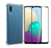 Kit Capa Anti Impacto Samsung Galaxy A02 + Película De Vidro 3D -