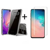 Kit Capa Anti Impacto Samsung Galaxy S10 Plus + Película Vidro 3D -
