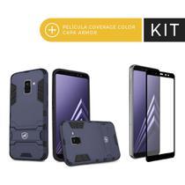 Kit Capa Armor e Pelicula Coverage Preta para Galaxy A8 Plus - Gorila Shield -