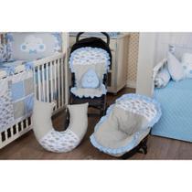 Kit Capa Bebê Conforto + Capa Carrinho + Almofada Amamentação - Nuvem Azul - Milla Baby