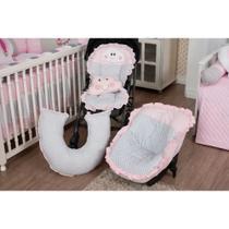 Kit Capa Bebê Conforto + Capa Carrinho + Almofada Amamentação - Nuvem Coração Rosa - Milla Baby