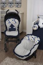 Kit Capa Bebê Conforto + Capa Carrinho + Almofada Amamentação - Nuvem Marinho - Milla Baby
