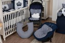 Kit Capa Bebê Conforto + Colchonete Carrinho + Almofada Amamentação Chevron Azul - Casa Pedro