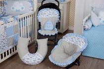 Kit Capa Bebê Conforto + Colchonete Carrinho + Almofada Amamentação Nuvem Azul - Casa Pedro