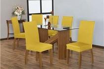 Kit capa cadeira jantar 4 peças - malha grossa - Enxovais Fanti