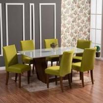 Kit capa cadeira jantar 6 peças - malha grossa - Enxovais Fanti