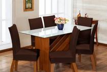 Kit capa cadeira jantar 8 peças - malha grossa - Enxovais Fanti