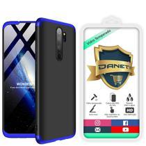 "Kit Capa Capinha Anti Impacto 360 Full Para Xiaomi Redmi Note 8 Pro Tela 6.53"" Polegadas - Case Acrílica Fosca Com Película De Vidro Temperado - Danet - Danet"