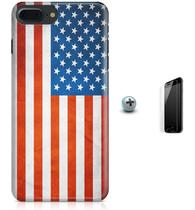 Kit Capa Case TPU iPhone 7 Plus - Bandeira EUA - USA + Pel Vidro (BD30) - Bd cases