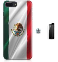 Kit Capa Case TPU iPhone 7 Plus - Bandeira Mexico + Pel Vidro (BD30) - Bd cases