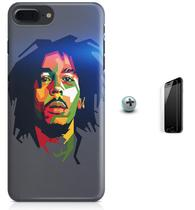 Kit Capa Case TPU iPhone 7 Plus - Bob Marley + Pel Vidro (BD50) - Bd cases