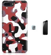 Kit Capa Case TPU iPhone 7 Plus - Camuflagem + Pel Vidro (BD51) - Bd cases