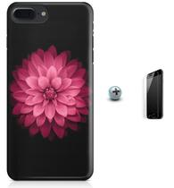 Kit Capa Case TPU iPhone 7 Plus - Flores Arte + Pel Vidro (BD53) - Bd cases