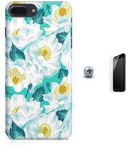 Kit Capa Case TPU iPhone 7 Plus - Flores Arte + Pel Vidro (BD55) - Bd cases