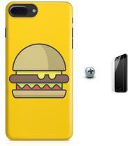 Kit Capa Case TPU iPhone 7 Plus - Hamburger Minimalista + Pel Vidro (BD51) - Bd cases
