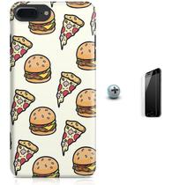 Kit Capa Case TPU iPhone 7 Plus - Hamburger Pizza + Pel Vidro (BD30) - Bd cases