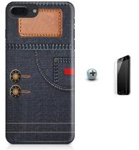 Kit Capa Case TPU iPhone 7 Plus - Jeans + Pel Vidro (BD51) - Bd cases